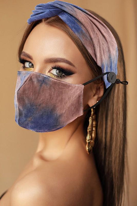 ALL YOU NEED HEADBAND AND FACE MASK BUNDLE-NAVY/BROWN TIE DYE - Infinity Raine