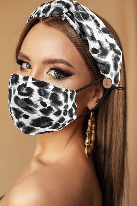 ALL YOU NEED HEADBAND AND FACE MASK BUNDLE-GREY LEOPARD - Infinity Raine