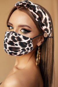 ALL YOU NEED HEADBAND AND FACE MASK BUNDLE- LEOPARD - Infinity Raine