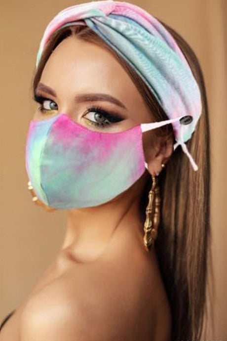 ALL YOU NEED HEADBAND AND FACE MASK BUNDLE-PINK TIE DYE - Infinity Raine
