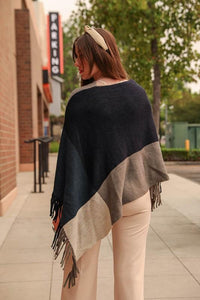 IN THE WIND SCARF PONCHO-BLACK/GREY - Infinity Raine