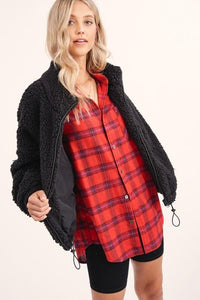 BONFIRE KINDA NIGHT FLANNEL TOP-RED - Infinity Raine