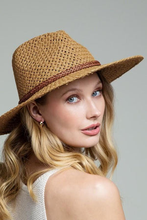 Throwing Shade Panama Hat w/Bead Trim-Dark Natural - Infinity Raine