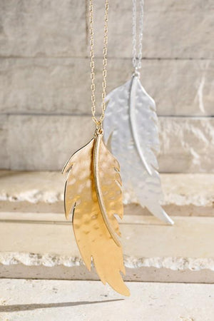 Fly To Me Feather Necklace-Gold - Infinity Raine