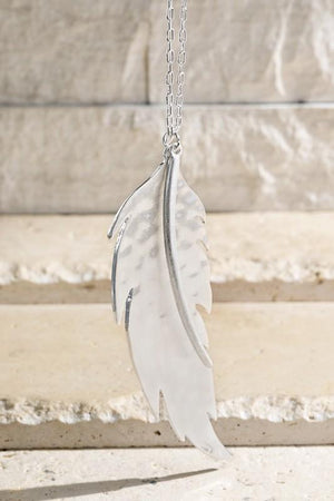 Fly To Me Feather Necklace-Silver - Infinity Raine