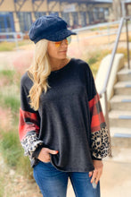 Load image into Gallery viewer, COLOR BLOCK BUBBLE SLEEVE TUNIC TOP-CHARCOAL - Infinity Raine