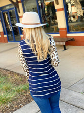 Load image into Gallery viewer, SO MUCH TO SAY STRIPED TUNIC TOP-NAVY/ANIMAL PRINT - Infinity Raine