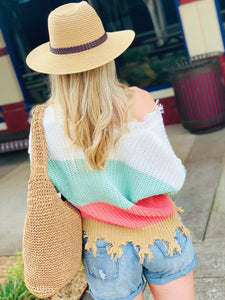 SAY YOU LOVE ME COLOR BLOCK SWEATER-CORAL - Infinity Raine