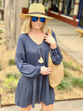 Load image into Gallery viewer, STAY SWEET TIERED TUNIC DRESS-DARK BLUE - Infinity Raine
