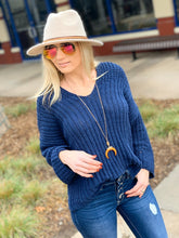 Load image into Gallery viewer, CASUAL MOOD CHENILLE KNIT SWEATER-NAVY - Infinity Raine