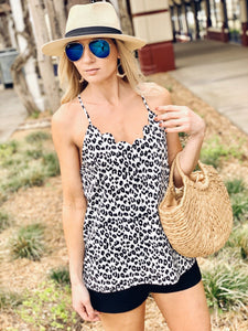 SUMMER CRUSH BLACK AND WHITE LEOPARD PRINT SCALLOP NECK TANK - Infinity Raine