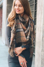 Load image into Gallery viewer, LETS GET OUT SCARF-MOCHA PLAID - Infinity Raine