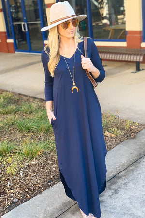 LONG SLEEVE MAXI DRESS W/OPEN SIDE SLITS-NAVY - Infinity Raine