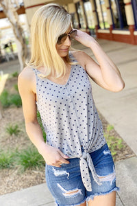 WANT IT ALL-FRONT TIE POLKA DOT SLEEVELESS KNIT TOP-NAVY MULTI - Infinity Raine