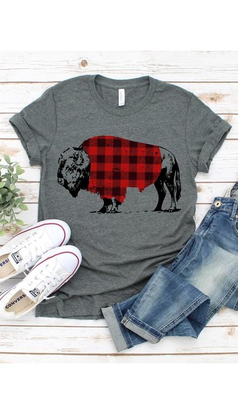 HEY GIRL LOOK AT THAT BUFFALO IN PLAID TEE-DEEP HEATHER - Infinity Raine
