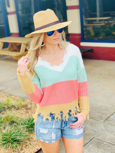 SAY YOU LOVE ME COLOR BLOCK SWEATER - Infinity Raine