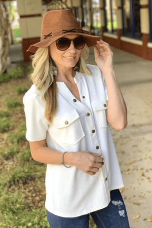 JUST TAKE A LOOK BUTTON DOWN TOP-IVORY - Infinity Raine