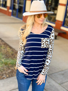 SO MUCH TO SAY STRIPED TUNIC TOP-NAVY/ANIMAL PRINT - Infinity Raine