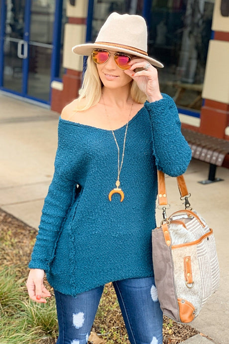 COZY POPCORN SWEATER-TEAL - Infinity Raine