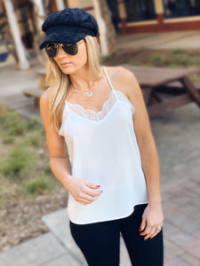 SLIP INTO THIS LACE CAMI SOLID TANK TOP-OFF WHITE - Infinity Raine