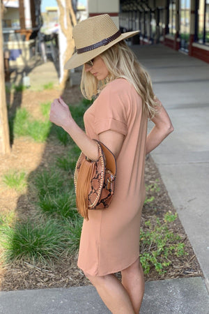 MY KIND OF DAY CUFFED SLEEVE V-NECK DRESS-CAMEL - Infinity Raine