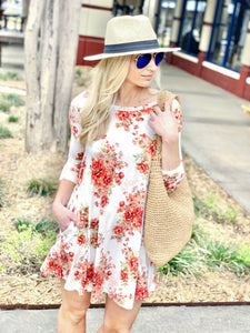 FEELING SO RIGHT SHORT FLORAL SWING DRESS-IVORY - Infinity Raine