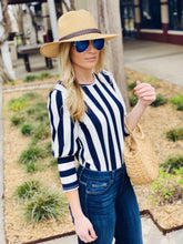 Load image into Gallery viewer, LOVELY LADY STRIPED TOP-NAVY/WHITE - Infinity Raine