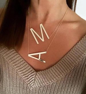 FINISHING TOUCH LARGE INITIAL NECKLACE-GOLD - Infinity Raine