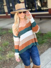 Load image into Gallery viewer, STRIPED SOFT KNIT SWEATER-PLUS SIZE-RUST/TAUPE/OLIVE - Infinity Raine