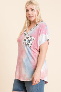 DON'T OVER THINK IT TIE DYE FRENCH TERRY PLUS SIZE TOP-PINK/BLUE - Infinity Raine