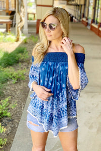 SEEN THIS BEFORE OFF THE SHOULDER TOP-DEEP BLUE - Infinity Raine