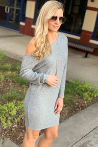 DON'T MISS TONIGHT OFF SHOULDER SWEATER DRESS-HEATHER GREY - Infinity Raine