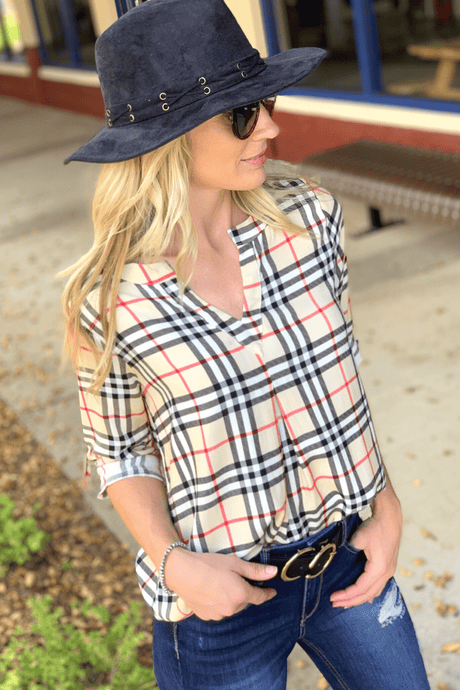 WHY DON'T WE TUNIC-TAUPE PLAID - Infinity Raine