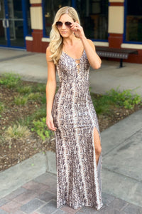 FIERCELY WILD-SNAKE PRINT MERMAID DRESS - Infinity Raine