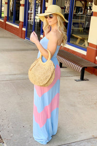 BLISS WITH A KISS STRAPLESS MAXI-BLUE/PINK - Infinity Raine