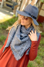 Load image into Gallery viewer, IN A FLURRY SQUARE PLAID BLANKET SCARF-BLACK/WHITE - Infinity Raine