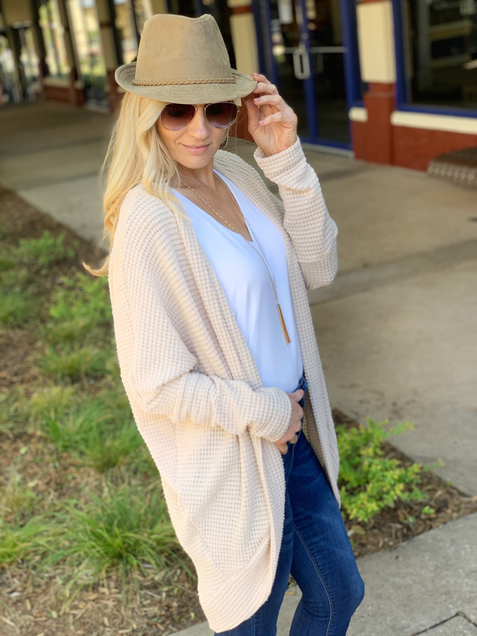 SOMEBODY TO LOVE WAFFLE KNIT CARDIGAN-TAUPE - Infinity Raine