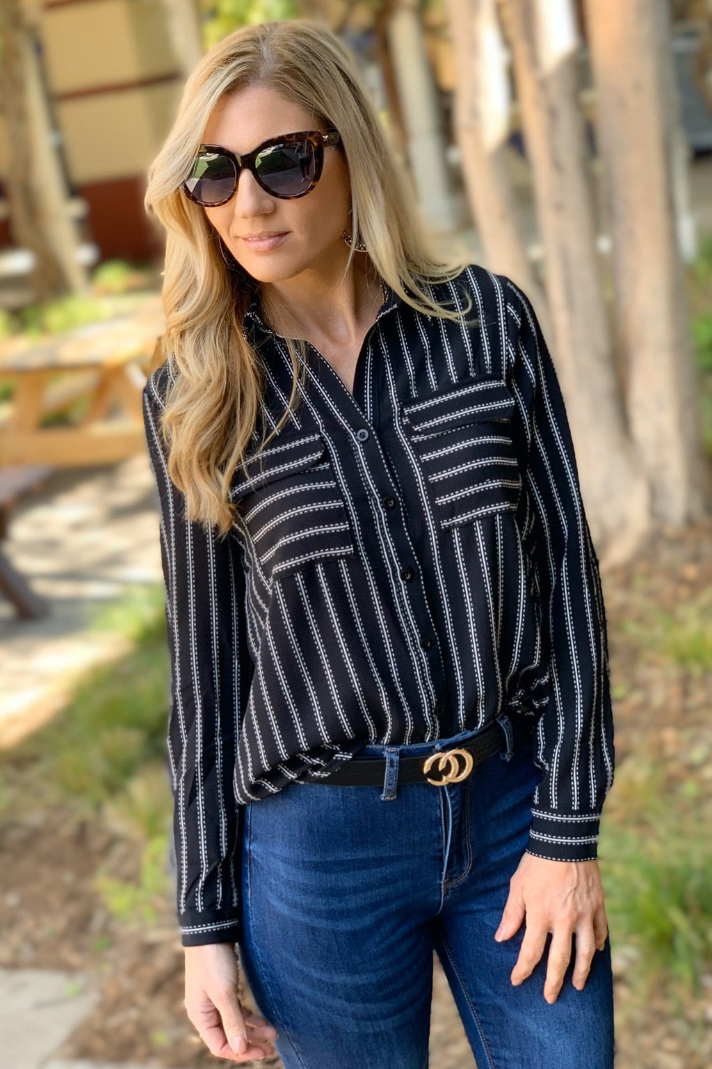 DOUBLE POCKET STRIPE BUTTON UP TOP-BLACK/WHITE - Infinity Raine