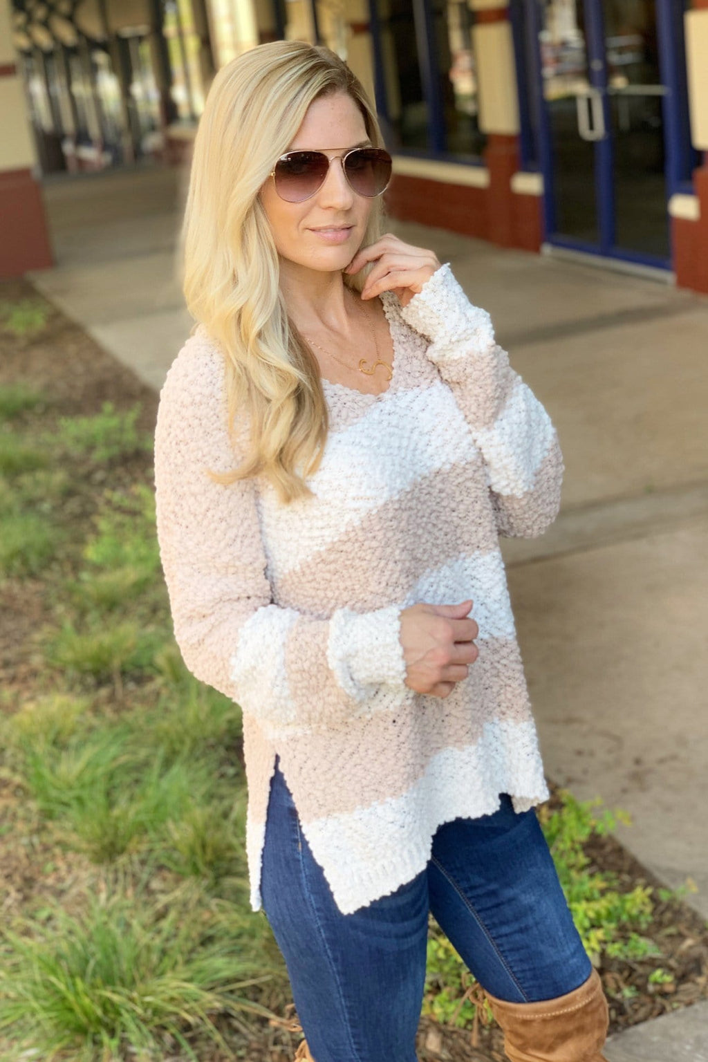 COZY WITH YOU TAUPE AND IVORY STRIPE SWEATER - Infinity Raine