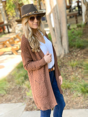 WAITING ON LOVE POPCORN CARDIGAN-LIGHT BROWN - Infinity Raine