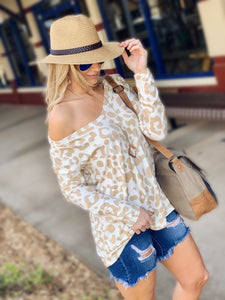 FEEL THE FUN LEOPARD PRINT  TOP-TAUPE - Infinity Raine