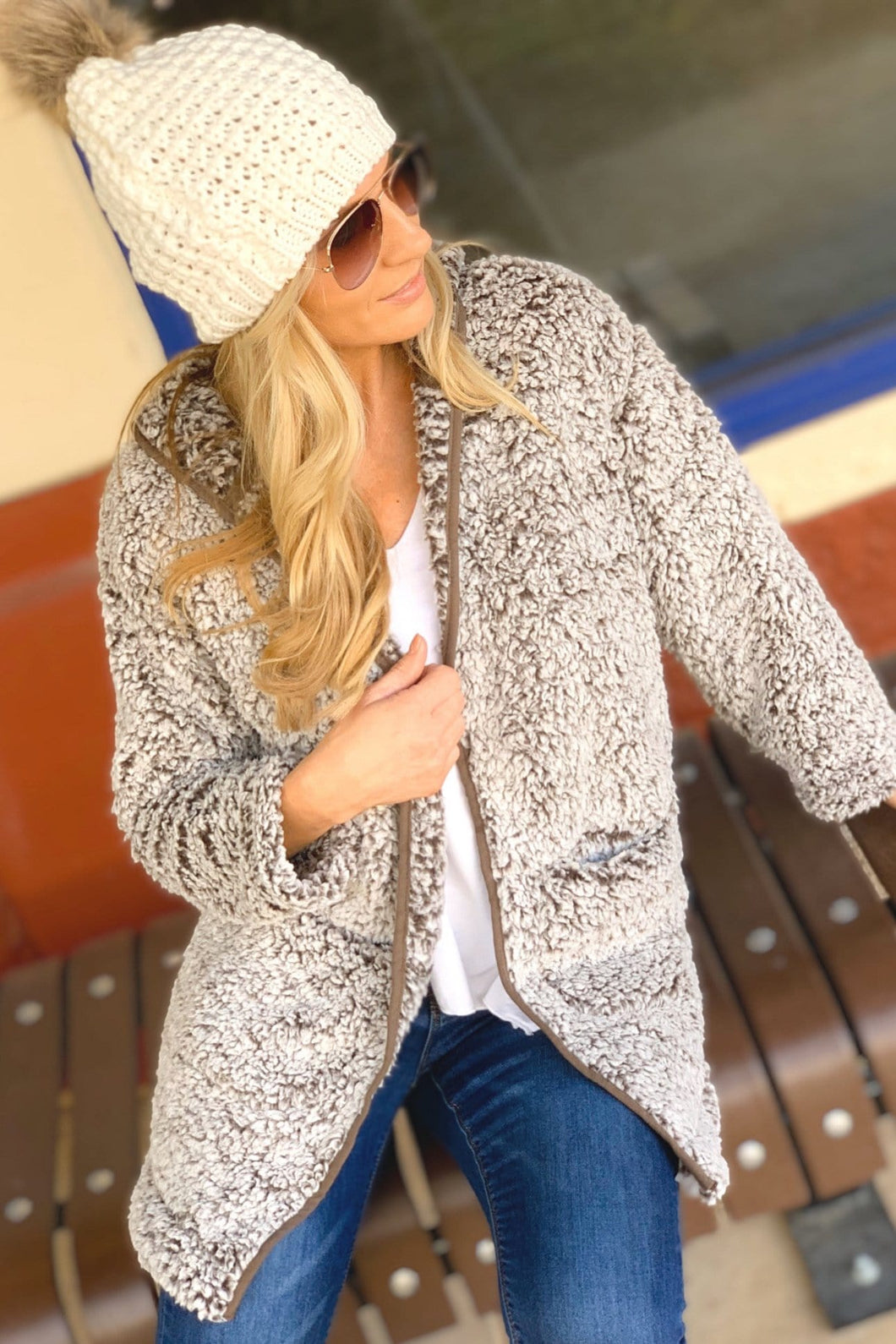 SAY IT AIN'T SNOW SHERPA HOODED JACKET-MOCHA - Infinity Raine
