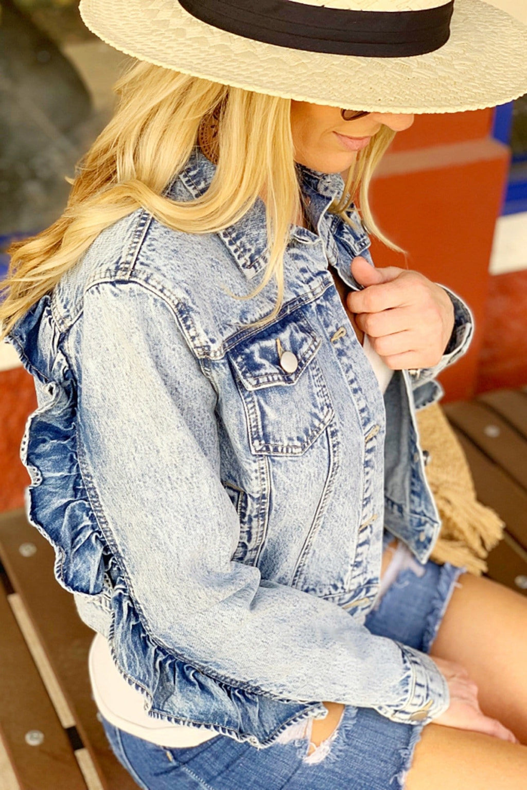 TOTALLY CRUSHING CROPPED RUFFLE DENIM JACKET - Infinity Raine