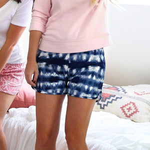 HELLO MELLO SWEET ESCAPE PJ LOUNGE SHORTS-BLUE TIE-DYE - Infinity Raine