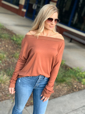 DINNER AND A MOVIE SWEATER TOP-CHESTNUT - Infinity Raine