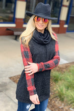 Load image into Gallery viewer, YOU'LL BE OK TURTLENECK TUNIC TOP-CHARCOAL/PLAID - Infinity Raine