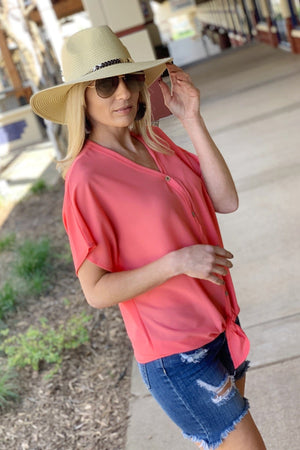 BOHO BABE- WOVEN BUTTON DOWN KNOT TOP-CORAL - Infinity Raine