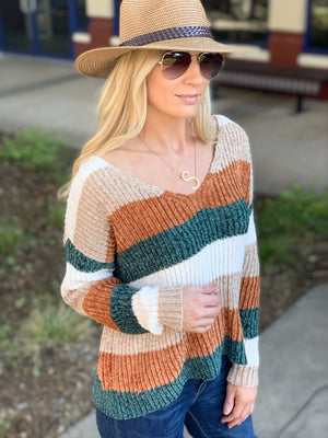 STRIPED SOFT KNIT SWEATER-RUST/TAUPE/OLIVE - Infinity Raine