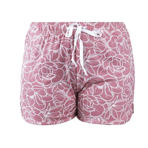 HELLO MELLO SWEET ESCAPE PJ LOUNGE SHORTS- WHITE/PINK FLORAL - Infinity Raine