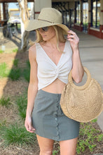 Load image into Gallery viewer, BUTTON SCALLOP SKIRT-OLIVE - Infinity Raine